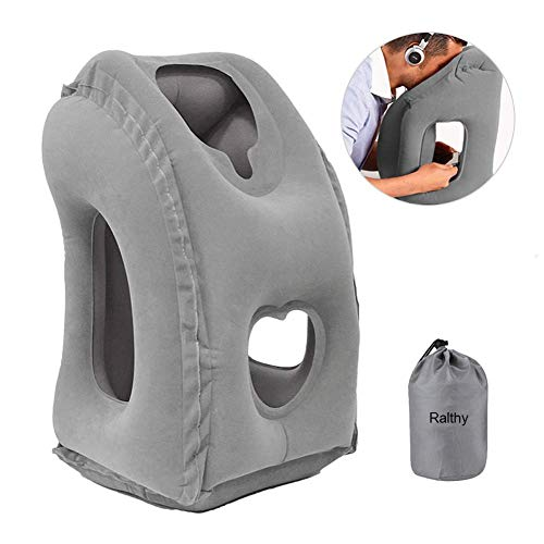 Ralthy Inflatable Travel Pillow, Portable Airplane Pillow Multifunctional Neck and Head Support Lap Pillow for Airplanes Trains Buses and Office Napping (Gray)