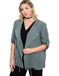 2LUV Plus Women's Plus Size Faux Suede Hooded Jacket