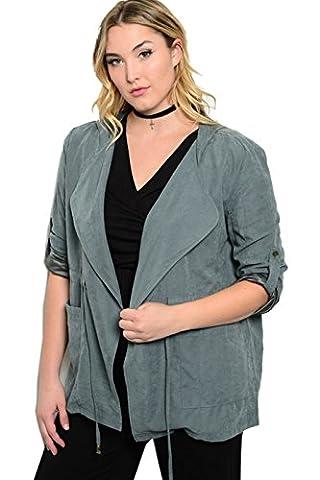 2LUV Plus Women's Plus Size Faux Suede Hooded Jacket GRAY 1XL - Faux Suede Blazer