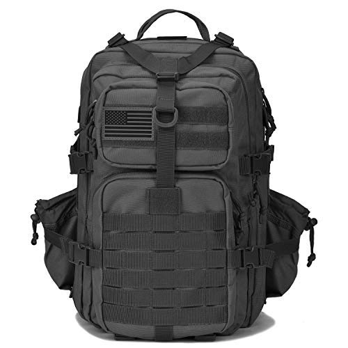 Military Tactical Backpack w/Bottle Holder, Small 3 Day Assault Pack Army Molle Bug Out Bag Backpacks Rucksack for Hiking Camping Trekking Hunting Travel Black