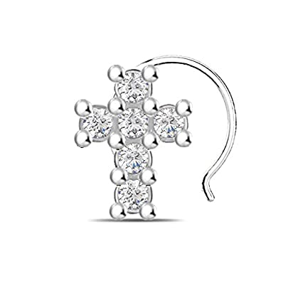 Buy Silver Dew Cross Stud Nose Ring Nose Pin Valentine Gifts For