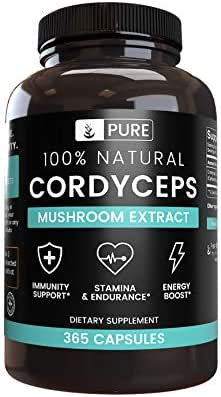 100% Natural Cordyceps |4 Month Supply |No Stearate or Rice Filler, Made in USA, Non-GMO, Vegetarian, Gluten-Free, 900 mg of Undiluted Cordyceps with No Additives (365 caps)