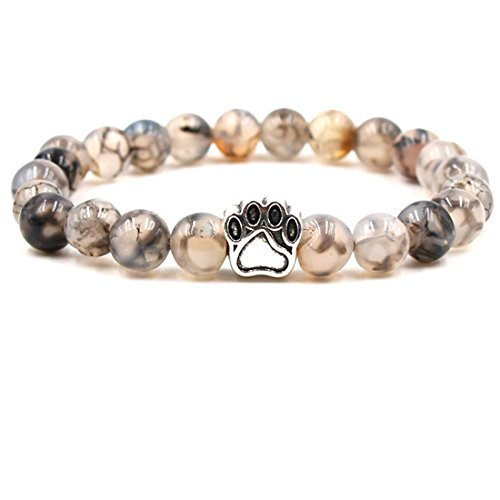 BaiYunPOY 8mm Handmade Charm Prayer Beaded Yoga Bracelet for Men Women - Natural Energy Beads Bracelet Healing Bangle - Dragon Agate Dog Claw