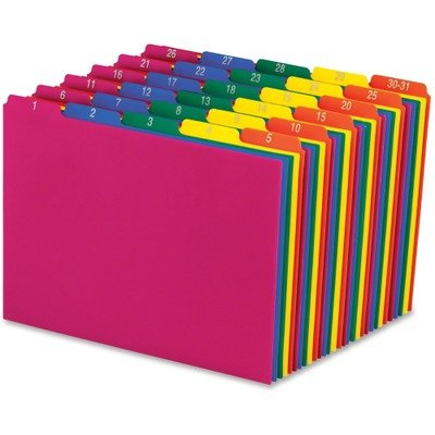 Pendaflex 40143 Top Tab File Guides, Daily/1-31, 1/5 Tab, Polypropylene, Letter, 31/Set