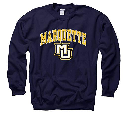 (Campus Colors Marquette Golden Eagles Arch & Logo Gameday Crewneck Sweatshirt - Navy, Medium)