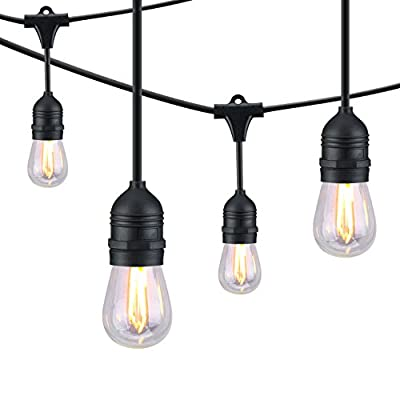 Mpow Outdoor String Lights, 49Ft LED Ambience Added Lights, Sturdy Connectable Weatherproof Dimmer Compatible Strands, 15 Edison Vintage Bulbs, for Patio, Cafe, Porch, Deck, Bistro, Garden