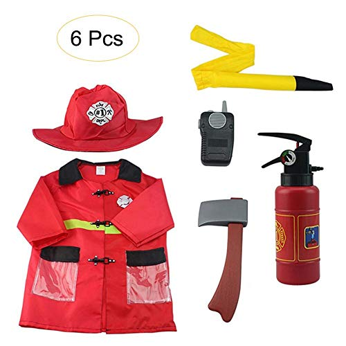(TODAYTOP Set of 6 Fire Chief Costume Role Play Costume Dress-Up Set Firefighter Uniform Suit for Children Fire Fighter Suit with)