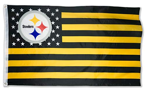 (WHGJ NFL Pittsburgh Steelers 3X5 FT USA Double Sided Flag Sports Banner Indoor and)