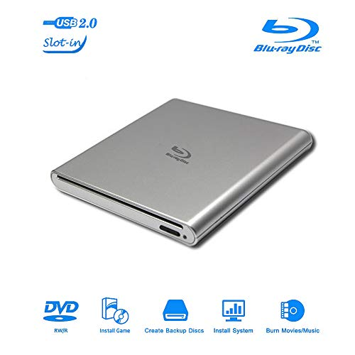External Blu Ray Portable CD DVD Drive Player USB 2.0 Slot-in DVD RW Burner Slim Optical Reader Writer Compatible DVD Dual Layer Burn for Laptop Notebook Desktop PC iMac MacBook (Silver)