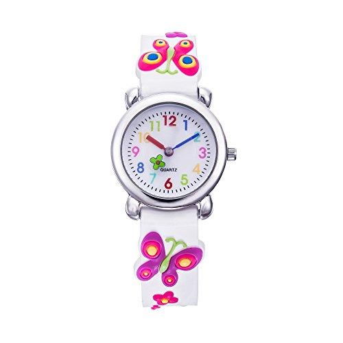 Vanyar Kids Butterfly Time Teacher Quartz Wrist Watch Rubble Band White