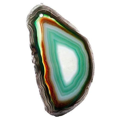 Nupuyai Polished Agate Stone Slabs Name Cards Place Cards for Wedding, Top Drilled Light Table Agate Slices Stone Pendants for Jewelry Making, Set of 10 - Polished Agate Slab
