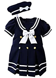 Baby Toddler Girls Nautical Sailor Dress with Hat Style-A Large /12-18 Months Navy