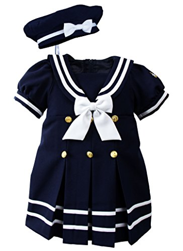 Baby Toddler Girls Nautical Sailor Dress with Hat Style-A Small/3-6 Months Navy]()