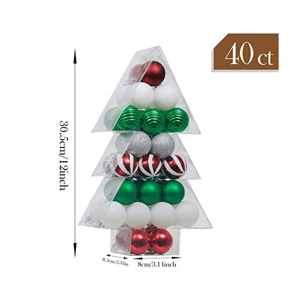 Valery Madelyn Palle di Natale 40 Pezzi 4 cm Palline di Natale, Collezione Classica Essenziale Rosso Verde e Bianco Ornamenti di Palla di Natale Infrangibili di Base per la Decorazione 2 spesavip