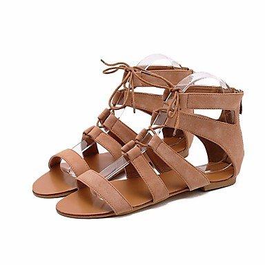 Otoño Zapatos Womens Comfort De Primavera Brown Casual For Sandalias Tacón Negro Marrón Bajo Pu FSCHOOLY gIqfwnHw