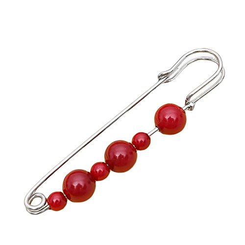 Fashion Women Jewelry Berries Red Bead Silver Brooch Safety Pin (Garnet Silver)