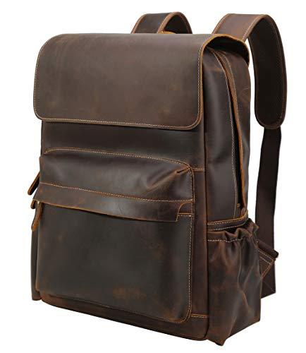 Polare Men's Handcrafted Full Grain Cowhide Leather Vintage Laptop Backpack Travel Bag Large