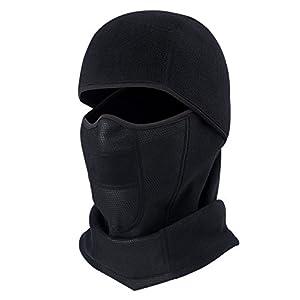Kids Balaclava Full Face Mask Winter 2 in 1 Hat Scarf Set Boys Girls Fleece Ski Hood Adjustable Windproof Thermal Neck Snood for Children Age 5-10