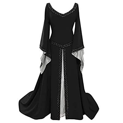 Muranba Womens Dresses Long Sleeve V-Neck Medieval Dress Floor Length Cosplay Dress