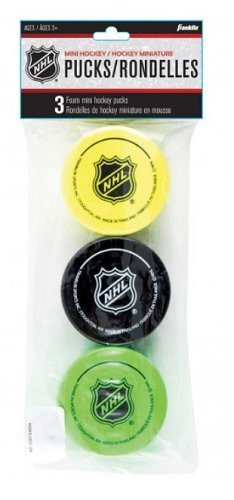 - Franklin Sports Mini Hockey Pucks - Foam - 3 Pack - Assorted Colors