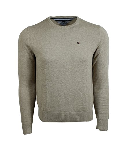 Tommy Hilfiger Mens Crew-Neck Cotton Sweater (X-Small, Beige)