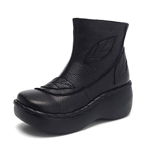 Botas Con Suela Gruesas Zapatos Moda Mujer De Pingxiannv Tobillo Para Plataforma Otoño Cuero Fdq4anwAx