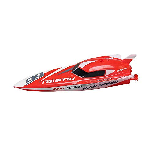 Aolvo Fast Remote Control Boat, RC Boat Toys for Pool and Lake - 2.4GHz, 4 Channels - Electric Racing Boat, RC High Speed Boats, RC Motor Boat, Ideal Gift for Kids and Adults - Red