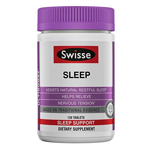 Swisse Ultiboost Sleep Tablets, 120 Count, Herbal Based Formula, Includes Valerian, Magnesium and Licorice, Sleep Aid Supplement*