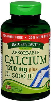 Nature's Truth Absorbable Calcium 1200mg Plus D3 5000 IU, So