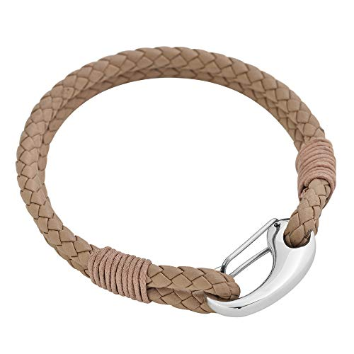 Edforce Braided Genuine Leather 2-Strand Cuff Bracelet with Stainless Steel Clasp (Tan) ()