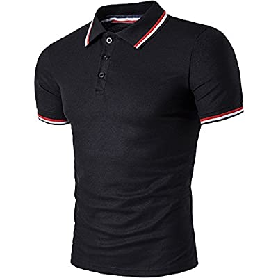 Cottory Men's Fashion Stripe Collar Pure Color Short Sleeve Polo T Shirt