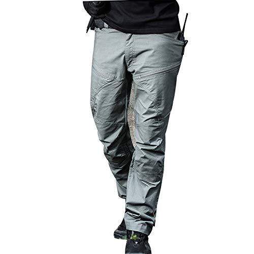 Leoattend Men Casual Cotton Pants Multi Pocket Breathable Slim for Outdoor Training