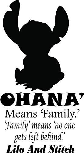 LILO and Stitch Wall Decals for Kids Walls/Disney Design Decor for Childrens Bedrooms/Kid & Baby Art Stickers Vinyl Removable Decal Ohana Quote Design Size 30x20 inch