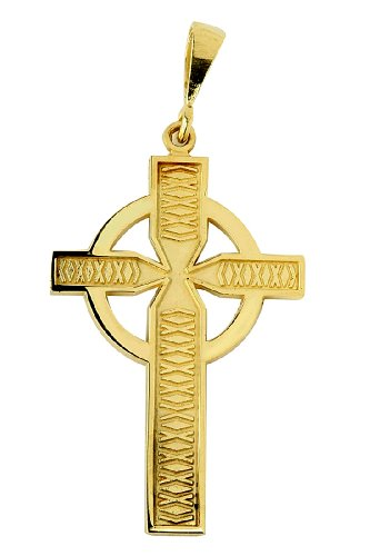Petits Merveilles D'amour - 14 ct Or 585/1000 Celtique Pendentif Croix Jaune Or