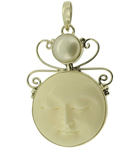 Bone Face Pendant - Cultured Pearl Moon Face Bali 925 Sterling Silver Pendant