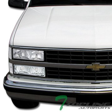 Topline Autopart Chrome Clear Lens Signal Bumper W/Corner Lights YD For 94-00 Chevy C10 C/K Truck SUV ()