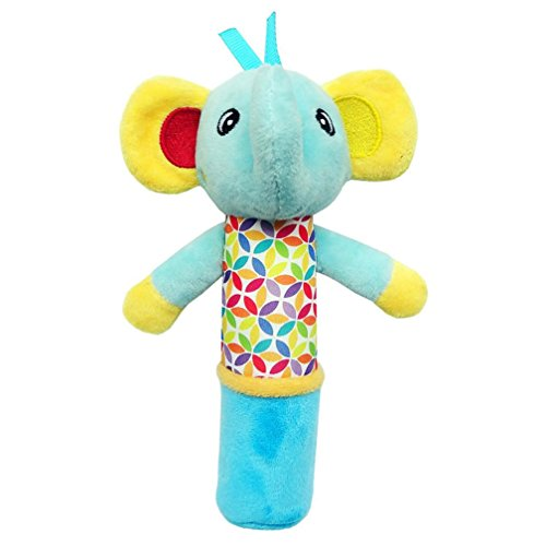 (Gbell Stuffed Wrist Rattles For Babies,Small Hand Musical Bell Rings Kawaii Cartoon Animal Soft Plush Toys for Toddler Infant (B))