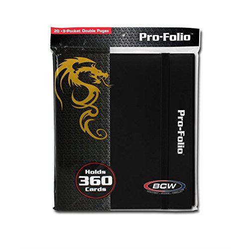 (6) Black Trading Card Binders - BCW Brand - 9-Pocket Pro-Folio - LX - #BCW-PF9LX-BLK by Square Deal Recordings & Supplies