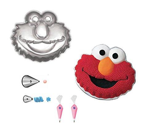 Wilton Elmo Face Cake Pan Bundle of 5 Items: Elmo Face Cake Pan, Decorating Tips and Decorating Bags