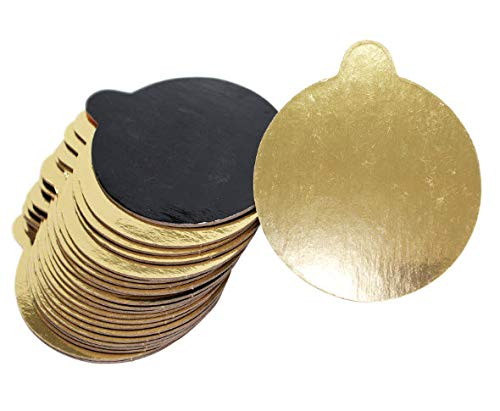 Mini Single Serving 3.25-inch Cake Boards. Set of 200 Small Double-Sided Metallic Gold/Black Rounds for Individual Slice or Portion. Elegant, Greaseproof with Easy-to-Wipe Laminate Top. Made in USA