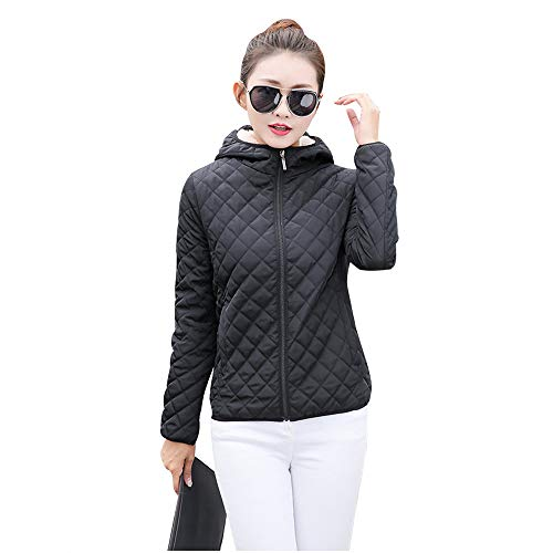 Black Jacket Outerwear Coat Womens Slim Outdoor Warm Thicken Hooded Quilted XFentech Down Fleece Jacket t67OxtqwR