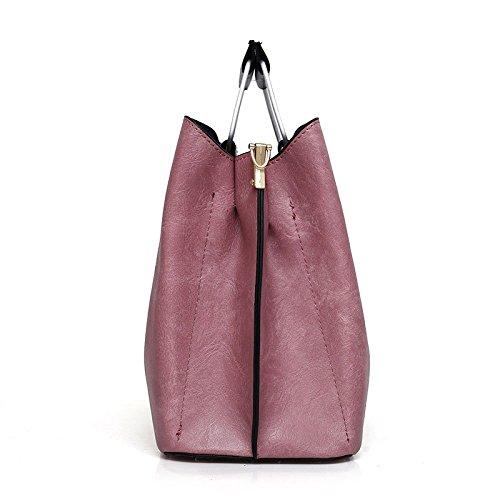 Women's Unie Bag Pièces Mode Zll Femmes Des Trois Main À Pink D'épaule Couleur Frange De Sac HqwXd