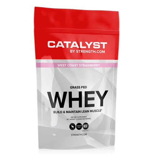 ALL NATURAL 100% Grass Fed Whey Protein, NSF Certified for Sport CATALYST, West Coast Strawberry (2.03 lbs) 100% Naturally Sweetened