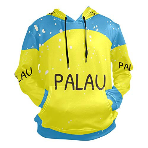 super3Dprinted Distressed Palau Flag Men's Pullover Hooded Sweatshirt