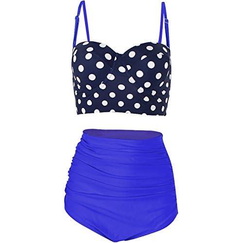 Hot FeelinGirl Women Vintage Polka Dot High Waist Bikini Set Swimsuit for cheap