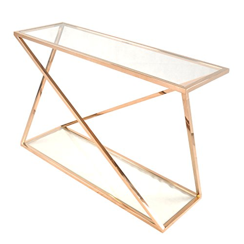 New Pacific Direct Marcio Console Table with Glass,Rose Gold Legs,Rose Gold