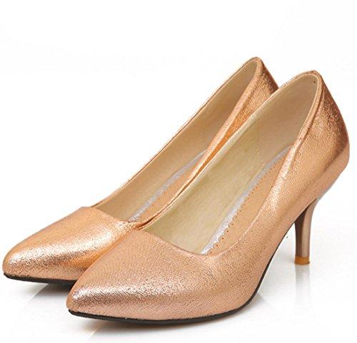 YCMDM Nuovo Tacchi alti donne scarpe da sera essenziali della molla di modo di autunno Oro Argento Blu Rosso 35 36 37 38 39 , gold , 34