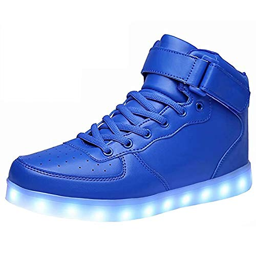 LED Light Up Shoes USB Flashing Sneakers For Toddler/Kids Boots-27(Shining Blue