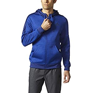 adidas Men's Athletics Team Issue Fleece Full Zip Hoody, Collegiate Royal Melange/Mystery Ink Melange, Medium