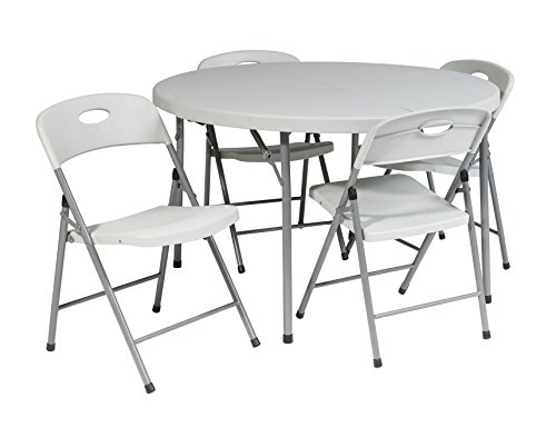 Office Star Resin 5 Piece Folding Chair and Table Set, 4 Chairs and 4-Feet Round Table